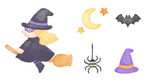 色鉛筆で手描き風 ハロウィン ほうきに乗った魔女イラストセット
