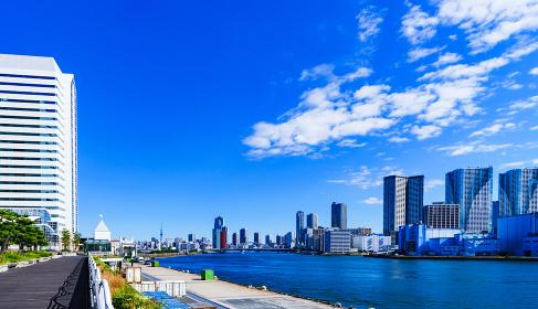 竹芝埠頭からみた隅田川と都内 【東京都の都市風景】