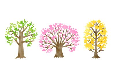季節の木々の素材イラスト