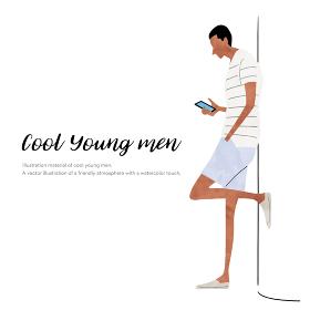 イラスト素材:夏のファッション、若い男性、スマートフォン