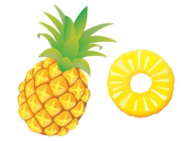 丸ごとと輪切りにカットされた黄色いパイナップルのイラスト