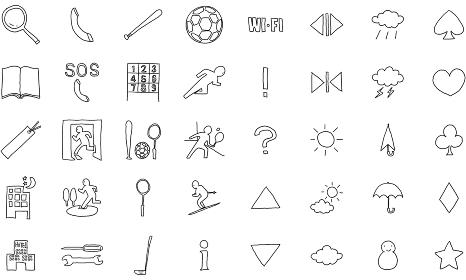 手描きアイコンセット 40 スポーツと天気