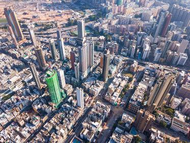 Kowloon city, Hong Kong, 11 November 2017:- Top view of Hong Kong city