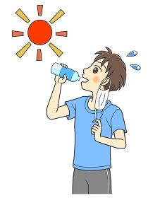 マスクをはずして水分補給するTシャツの若い男性