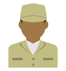 上半身シルエット人物イラスト (アジア人・アラブ人・黒人) / 労働者・作業員・清掃員・軍人