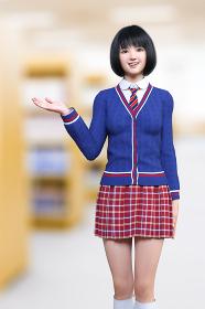 図書室でボブヘアの赤いチェックスカートの制服の女子高生が片手を横に出し本の場所を案内している