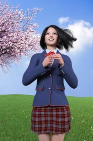 強い風が吹きショートカットの髪が揺れる青いブレザーの制服姿の笑顔の女子高生が桜の木のそばで希望を持つ