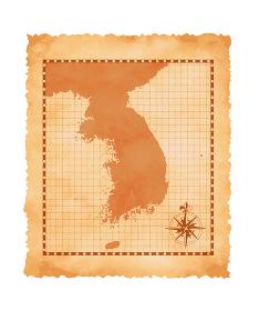 色褪せたボロボロの古地図ベクターイラスト / 韓国・朝鮮半島