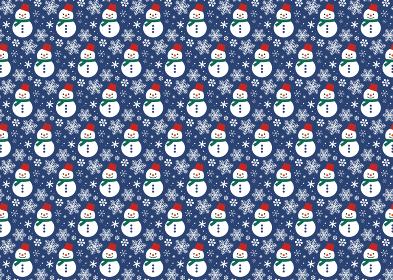 【パターン素材】雪だるまの背景【ベクター】