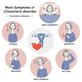 更年期障害の主な症状 イラストセット(シニア女性)