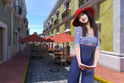 カラフルな建物がある町で女の子が笑顔でおしゃれな服装でポーズをとっている