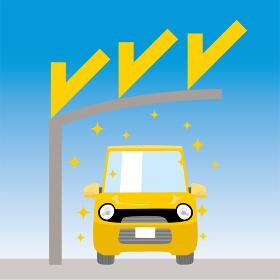 可愛い車とカーポートのイラスト 車正面 紫外線対策 UVプロテクション 駐車場 屋根 軽自動車