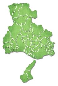 ペーパークラフト調の兵庫県の境界線入り地図