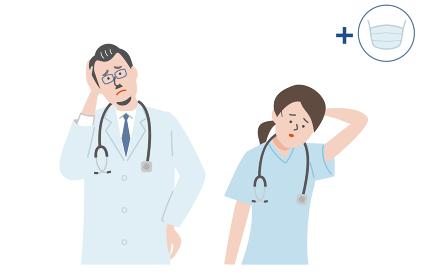 困っている医師と看護師のイラスト素材