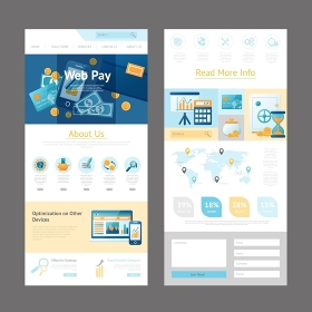 Website Design Page Template. Pages template design of website for online payments administration and web pay system vector illustration