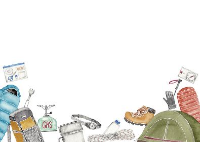 登山 アウトドア キャンプ 道具 アイテム 背景 フレーム 水彩 イラスト