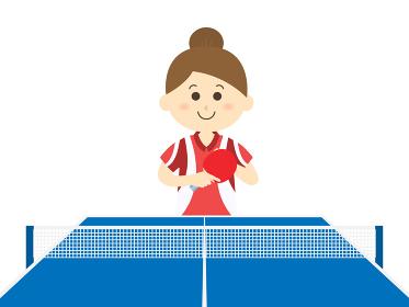 卓球をプレイする女性のイラスト