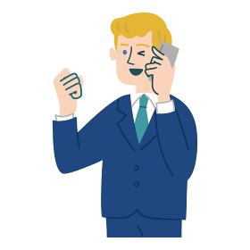スーツ 男性 外国人 ブロンド 携帯電話 スマホ ガッツポーズ