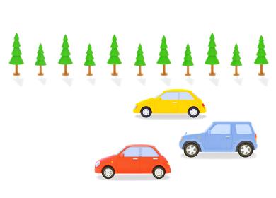 カラフルな3台の車と街路樹