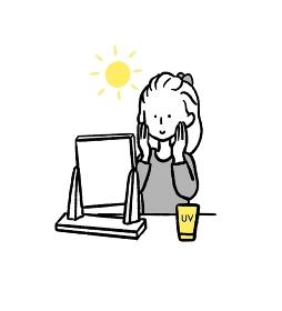 日焼け止めを塗る女性のイラスト