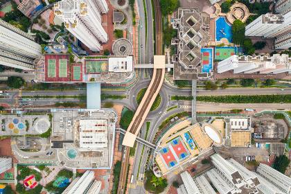 Aerial view of Hong Kong downtown