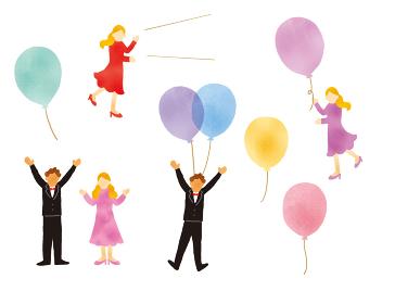風船とおしゃれな人物のイラストレーションセット
