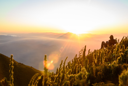 Sunrise mountain people nature landscape