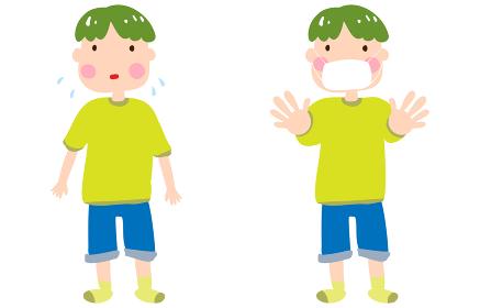 マスクなしで困る男の子と、マスクをして両手を突き出す男の子のイラスト