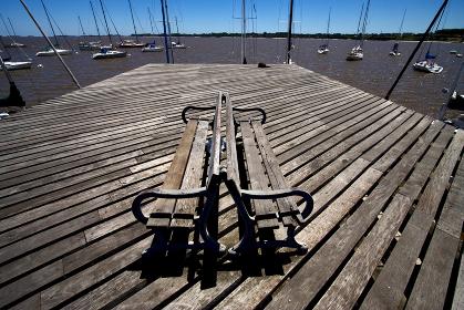 harbor water coastline bench and summer in   rio de la plata colonia del sacramento uruguay