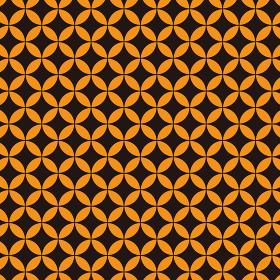 花七宝模様 黒×オレンジ 3