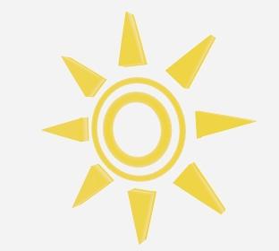 斜めを向いた黄色の二重丸太陽