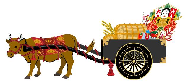 縁起物を乗せた牛車を運ぶ茶色い牛 - 丑年年賀