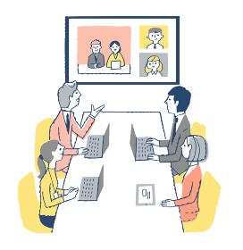 オンライン会議をするビジネスマン