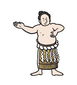 化粧廻しをしたお相撲さんのイラスト