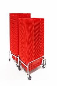 マイバスケット 買い物かご 水平 赤色 3837