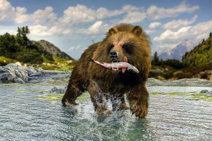 自然に囲まれた大きな川の中で魚を咥える熊