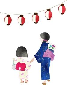 浴衣姿で夏祭りに行く母子 水彩風のイラスト