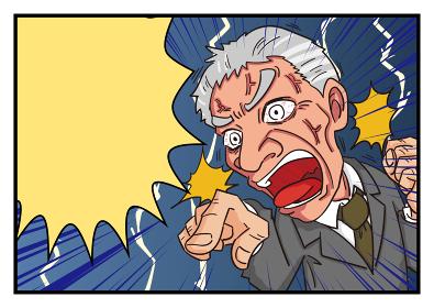 漫画風吹き出し激怒するシニア男性