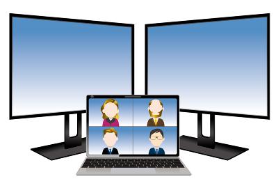 立体|ビジネスイメージトリプルPCワーク画面パソコンのモニターイラスト オンラインWEB会議
