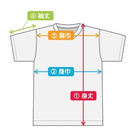 半袖Tシャツ 寸法表・サイズ表用イメージイラスト(カラーバージョン)