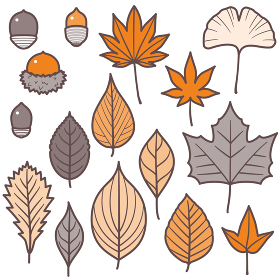 紅葉する葉っぱとどんぐりセット/2色