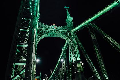 Old Iron Bridge across the Danube River in Budapest