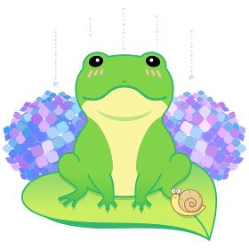 キュートなカエルと紫陽花