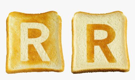 食パンに焼印風のアルファベットの大文字のR