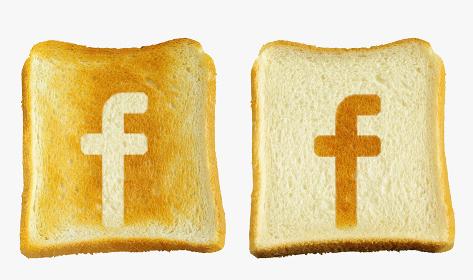 食パンに焼印風のアルファベットの小文字のf