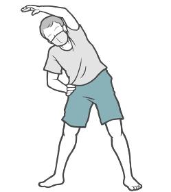 マスク ラジオ体操 中年男性 ストレッチ 室内