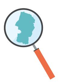 虫眼鏡ルーペ拡大鏡と山形県の詳細地図東北地方|都道府県別地図のイラスト ベクターデータ