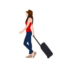 歩いている人物・歩行者 全身(横向き)シルエットイラスト/ カバンを持った若い女性