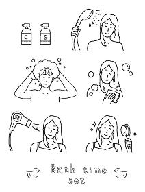 シャンプーやドライヤーをかけている女性のイラストレーションセット