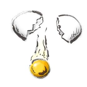 和風手描きイラスト素材 卵 たまご 玉子 生卵, 生, なま卵, カラ, 割る